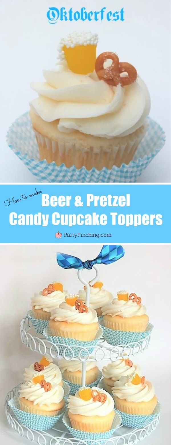 Oktoberfest cupcakes with mini beer and pretzel toppers made from candy
