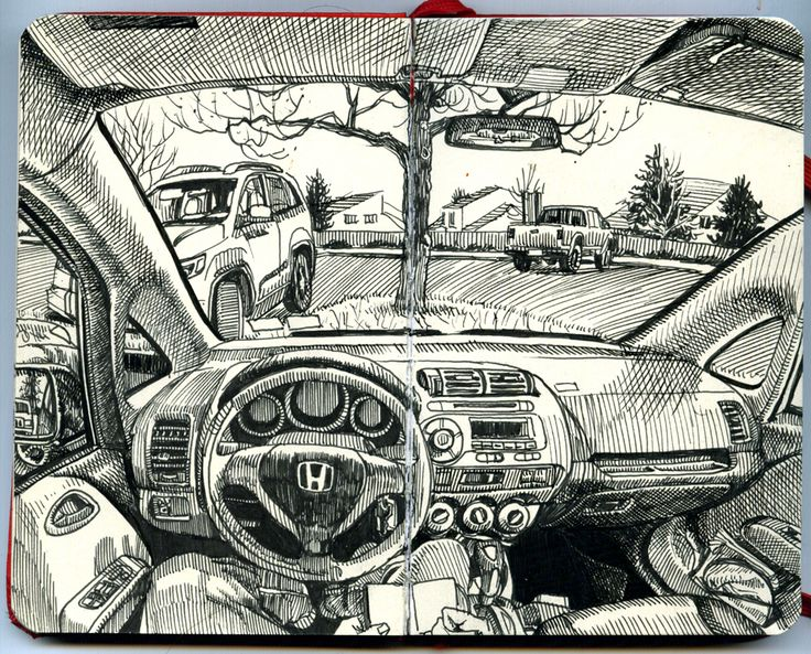 Paul Heaston: Drawing in the car in Denver, Colorado              This drawing was done in car, in a parking lot looking out through the windshield. Parts of the car are visible while also being able to look out into the distance. The composition is of this is interesting in the it shows both the inside and outside of the car and gives the whole drawing a good sense of depth