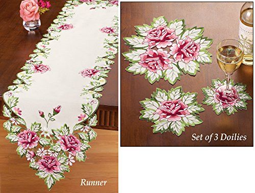 Embroidered Floral Rose Table Linens Doilies And Table Runner. Set!