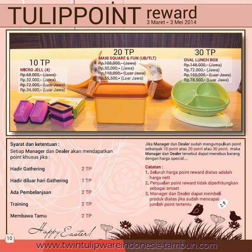 Point Reward Twin Tulipware | Maret - April 2014