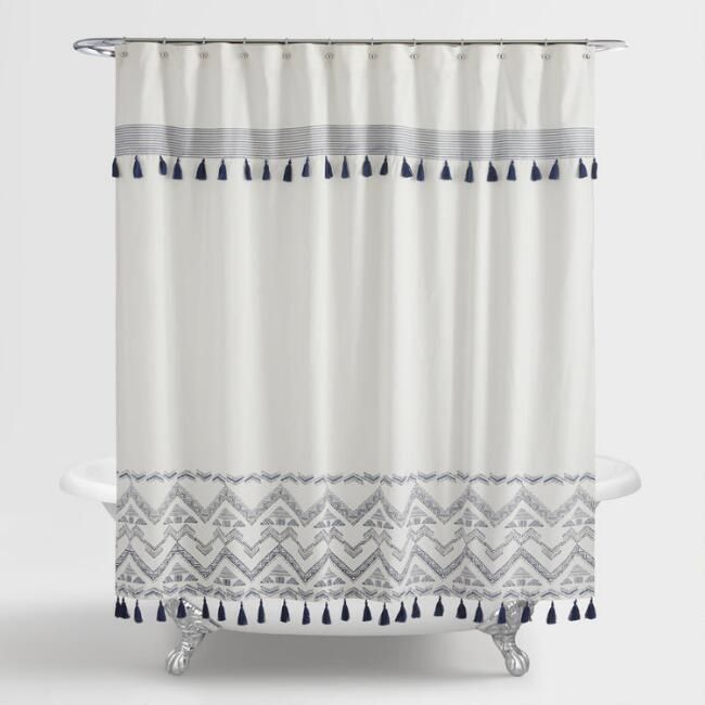 Indigo And White Tribal Zanzibar Shower Curtain World Market In