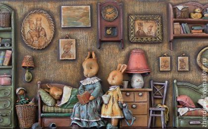 Papier mache, wood, painting tempera. Author - artist Zherdeva Maria.