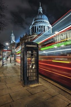 """Long Exposure Photography by Gene Krasko"" combining two of my favorite things: photography and blue telephone boxes ;)"