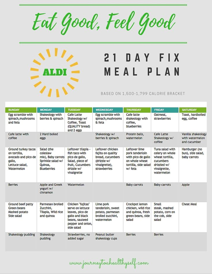 *Updated* FOUR Complete 21 Day Fix ALDI Meal Plans and ...