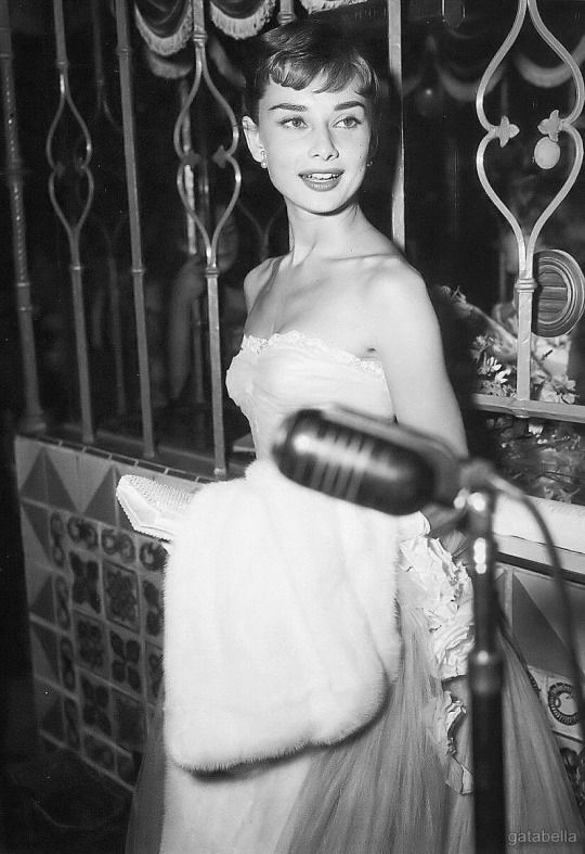 """September 14, 1953, Audrey Hepburn at the Westwood, California premiere of """"Roman Holiday."""""""