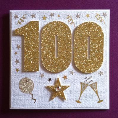 handmade glitter cards   ... glitter 100 handmade 100th birthday card 100th Greeting Card, Handmade