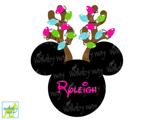 Minnie with Reindeer Antlers & Christmas Lights Printable Iron on or use as clip art by TheWallabyWay - Perfect for Mickey's Very Merry Christmas Party - DIY Disney Shirt - pink, lime green, turquoise