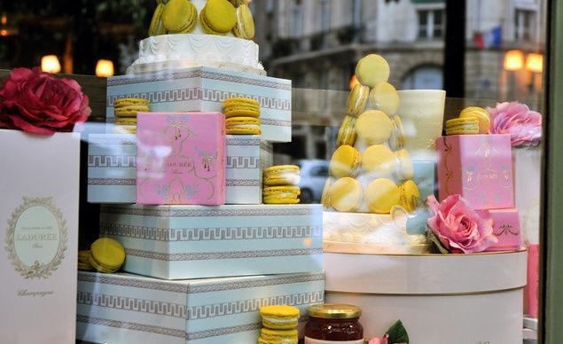 """Laduree window in Paris."" best ever- will never be able to find these at home :("