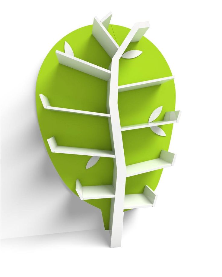 The shelves unit has an unconventional form and is certainly a pleasant surprise. We refer to the unique design that appears as a tree!  The back side of the furniture is mounted on the wall with the help of special mounting screws, which are covered with decorative elements in the shape of leaves.