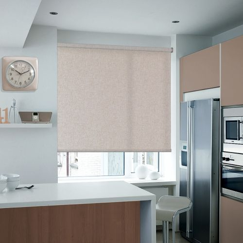 Textured fabric made out of 80% cotton in a tan brown colour. This is an ideal roller blind for those preferring natural materials