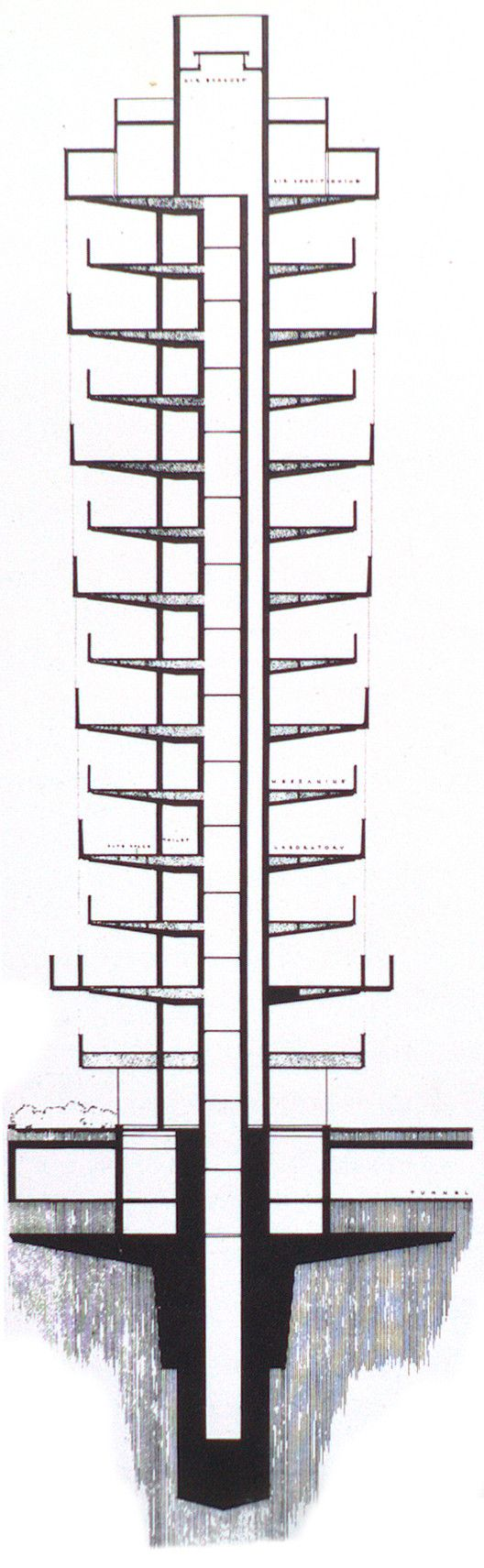 AD Classics: SC Johnson Wax Research Tower,Research tower section