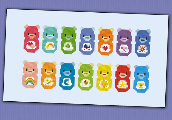 (Inspiration) Care Bears - PDF cross stich pattern