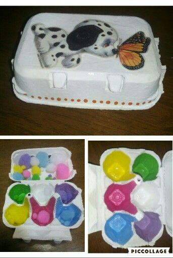 Caixa de ovos - cores e pompons