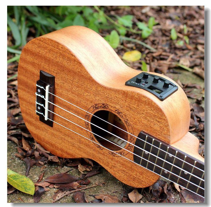 소프라노 음향 전기 우쿨렐레 21 인치 기타 4 문자열 Ukelele Guitarra 공예 나무 화이트 기타리스트 마호가니 플러그 Uke