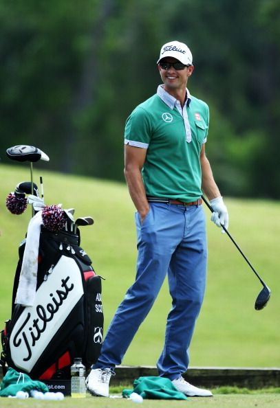 PONTE VEDRA BEACH, FL - MAY 08: Adam Scott of Australia practices on the driving range during a practice round for THE PLAYERS Championship at THE PLAYERS Stadium course at TPC Sawgrass on May 8, 2013 in Ponte Vedra Beach, Florida.