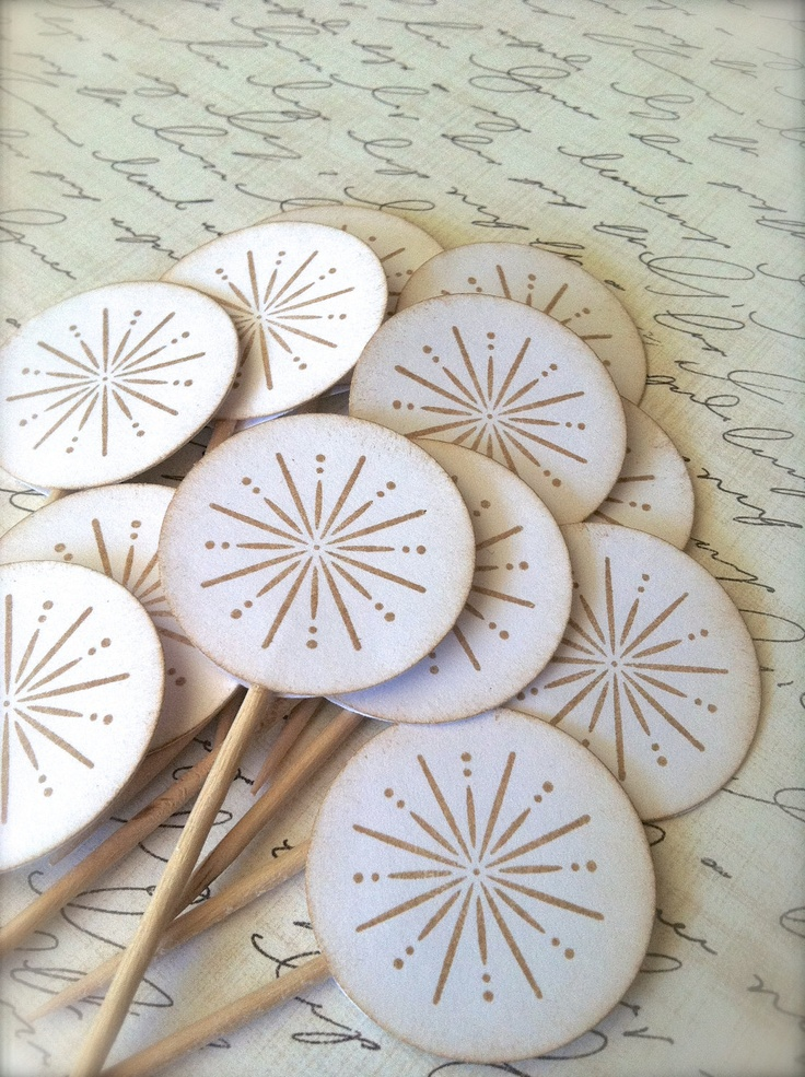 Cupcake Topper Food Pick Snowflake Winter Wedding Bridal Shower or Party Decoration (12). $6.00, via Etsy.