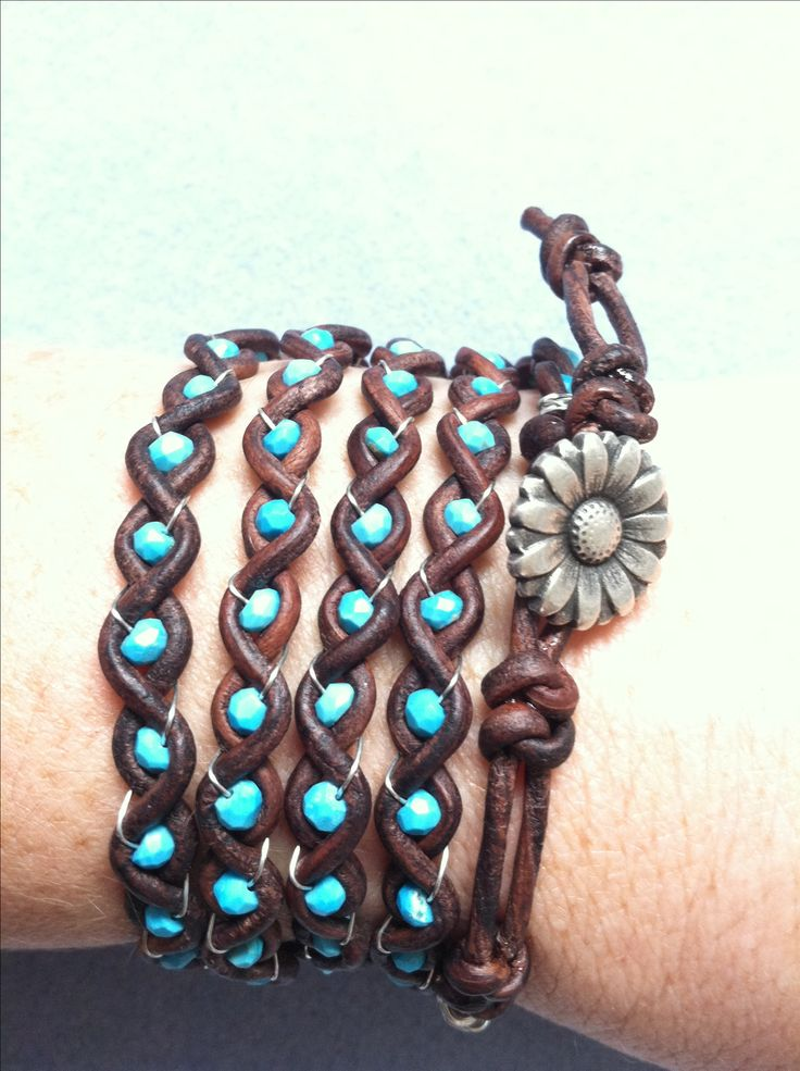 Turquoise Leather Braid - this could be recreated with all sorts of different materials