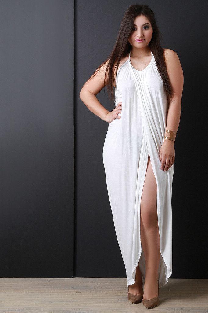 Plus Size Short Halter White Dresses