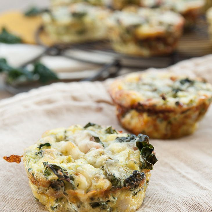 Mini Crustless Kale and Broccoli Quiches Recipe Breakfast and Brunch with eggs, half & half, white cheddar cheese, parmesan cheese, broccoli florets, kale, pancetta, green onions, pepper, salt, red pepper flakes, nutmeg