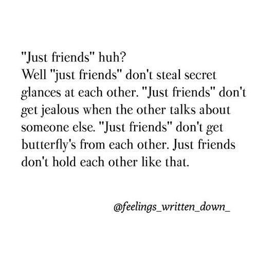 """Just friends"" huh ? Well ""just friends"" don't steal secret glances at each other  ""Just friends "" don't get jealous when the other talks about someone else.  ""Just friends"" don't get butterflies from each other.  ""Just friends "" don't hold each other like that."