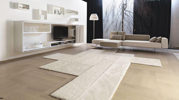 La alfombra 36e8 retoma el concepto de modularidad del sistema 36e8 y las dimensiones de los módulos. Lago en Mobles Urgell.
