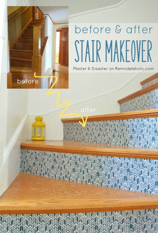 Awesome Stairwell Makeover, Updating Wood Stairs Without Painting!  Reversible When You Want Something New