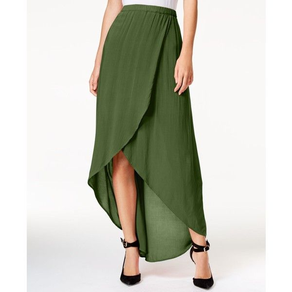 Chelsea Sky Tulip-Front Maxi Skirt, ($68) ❤ liked on Polyvore featuring skirts, hunter, tulip maxi skirt, floor length skirts, ankle length skirt, green skirt and maxi skirts