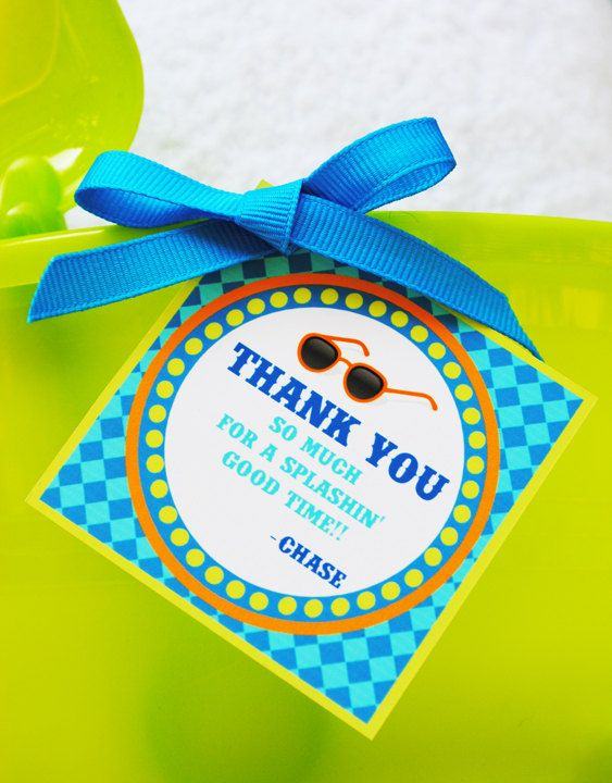 Pool party printables - cute for sand bucket favors :)