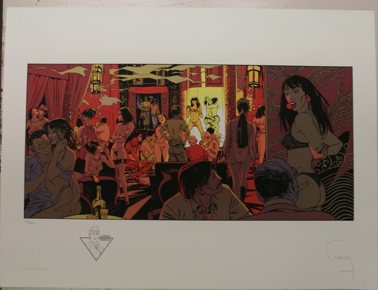 "Philippe Francq, Largo Winch, Club? Silkscreen on Paper, Edition Size: 250, Size: 23.6"" x 31.5""(60x80cm) Numbered: 216/250, Signed, $192 or € 150"
