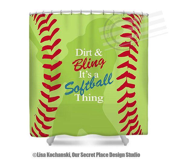 Softball shower curtain girls shower curtain dirt bling for Sports themed bathroom ideas