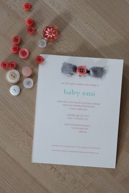 cute as a button baby shower | by way of ney: DIY: baby shower invitation: [cute…