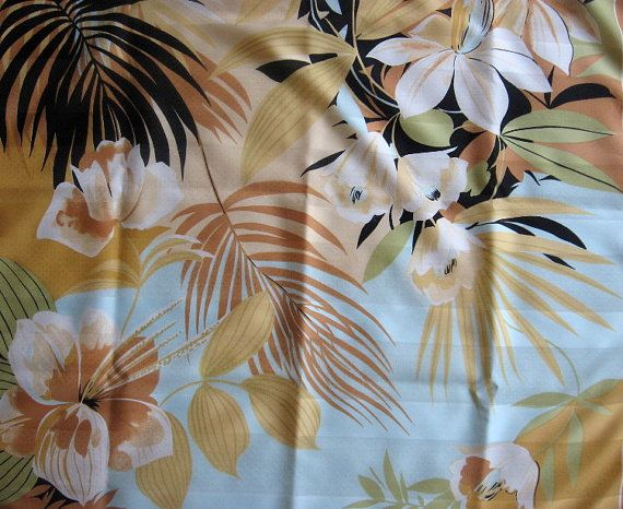 Mediterranean Scarf floral palms and orchids@PumpjackPiddlewick on Etsy