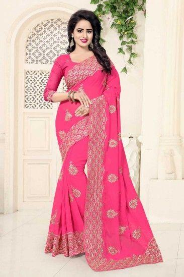 Pink Georgette Saree With Georgette Blouse - DMV12481