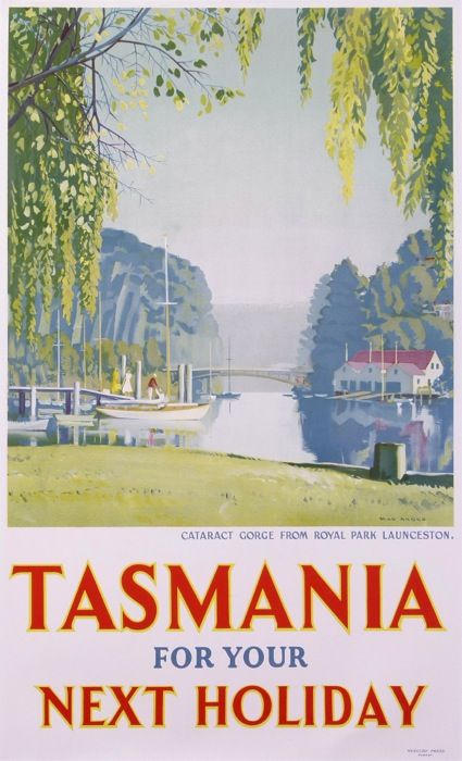 tasmania for your next holiday cataract gorge from royal park launceston : 1930 antique vintage posters from ANGUS Max Rupert