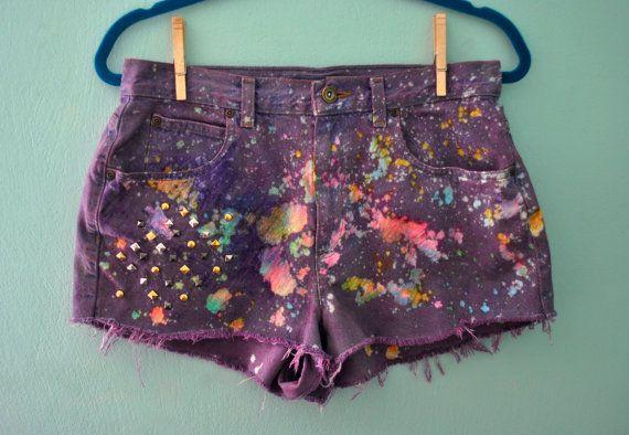 Vintage Splatter Galaxy Studded Purple Multi Color Dyed by skella, $49.00
