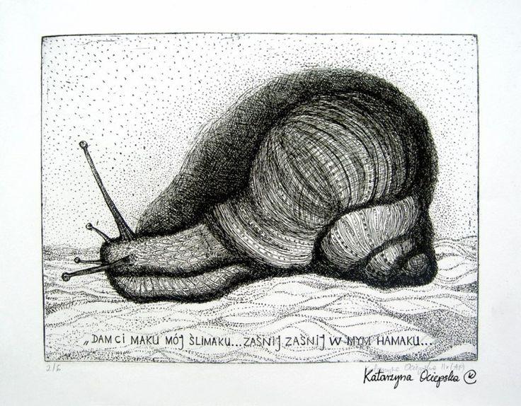 Ślimak (The Snail), etching, 2006 #akwaforta #etching #print #printing #druk #drukowanie #uljado