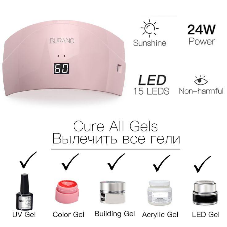 BURANO 24W UV LED Nail lamp dryer 36 color uv led building gel nail remover set. Click visit to buy #Nail #Tool #NailTool