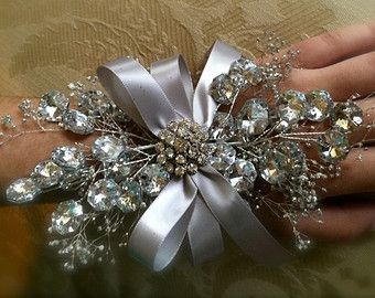 prom wrist corsage silver wrist corsage for mother of the bride,mother of the groom, bling wrist corsage, wedding corsage, prom 2014