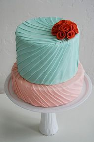 aqua and pink wedding cake