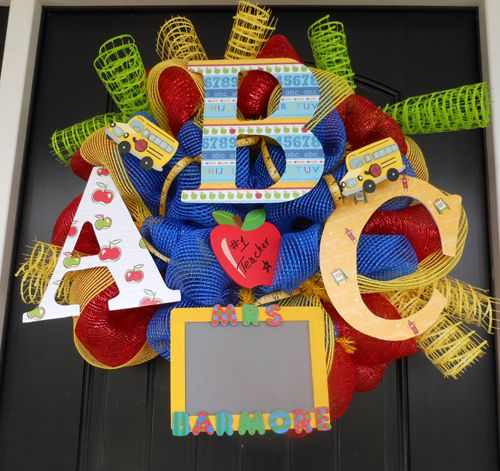 Classroom Wreath Ideas ~ Best school wreaths ideas on pinterest teacher mesh