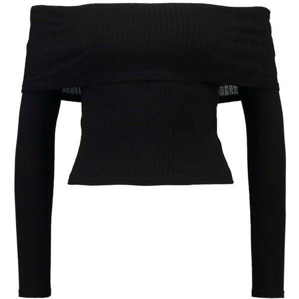 Miss Selfridge Petite Long sleeved top black (441.435 IDR) ❤ liked on Polyvore featuring tops, petite long sleeve tops, long sleeve tops, petite tops and miss selfridge