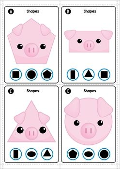 The Three Little Pigs Math Centers. Clip the shape.