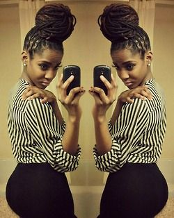I need my locs to get that long so i can do that bun! #locs #naturalhair