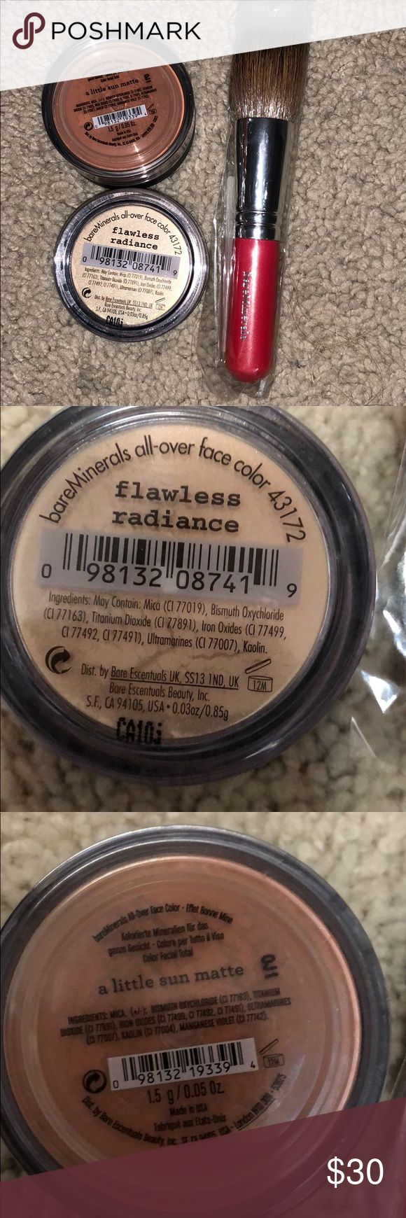 Bare minerals set of two with brush Bare minerals flawless radiance and a little sun matte with feather light brush with pink handle. Unopened bareMinerals Makeup Blush