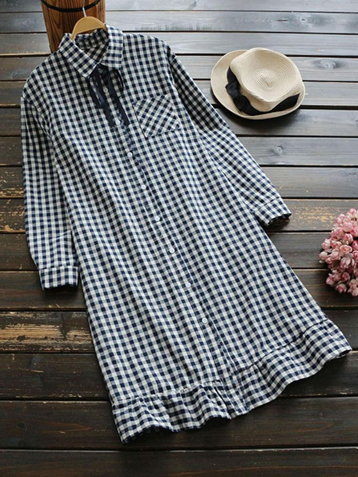 #SheIn - #SheIn Gingham Lace Up Frill Trim Shirt Dress - AdoreWe.com