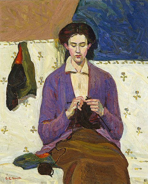 The sock knitter by Grace Cossington Smith (1915)