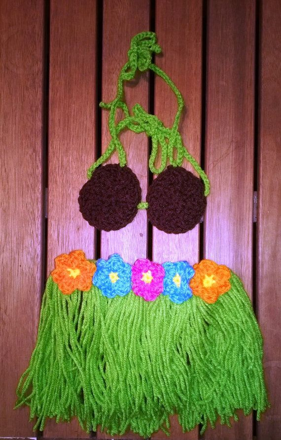 Crochet Hawaiian Luau Outfit 2 piece set