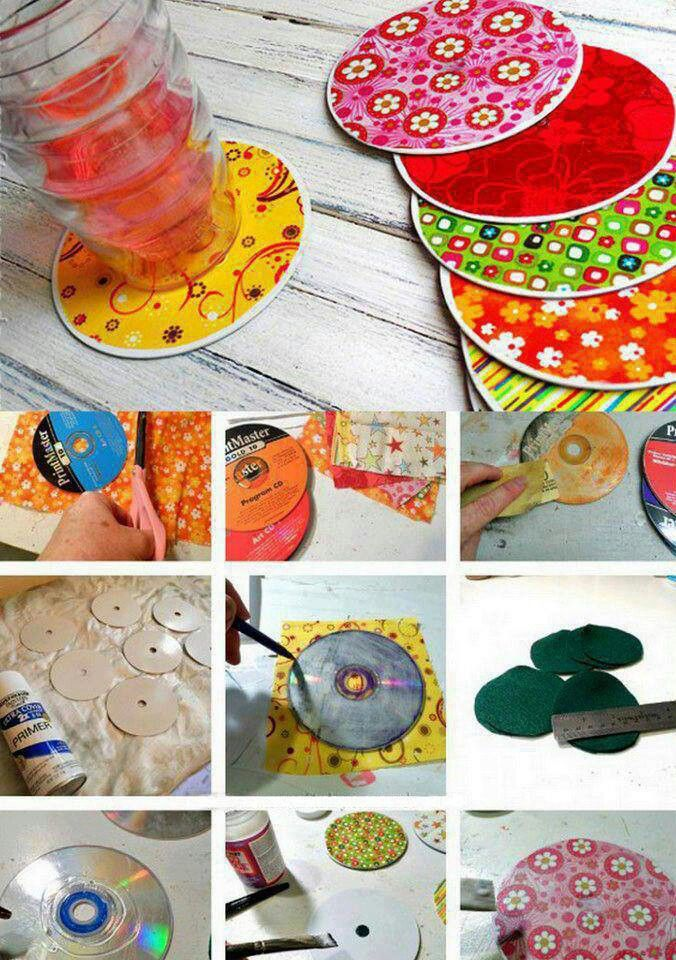 Make creative coasters using old CDs or DVDs