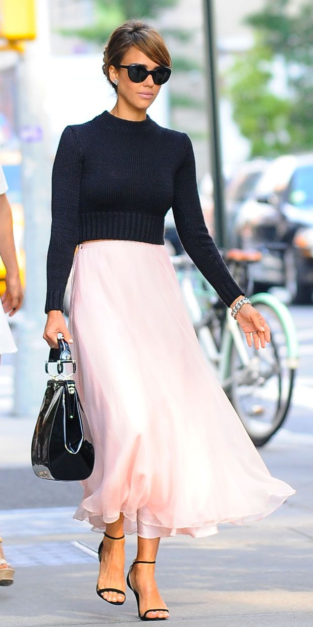 Jessica Alba style:  black + pink + strappy heels . love