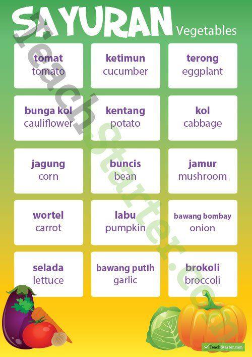 Vegetables – Indonesian Language Poster Teaching Resource